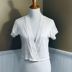 Kim Rogers White Sweater Shrug Petite Large